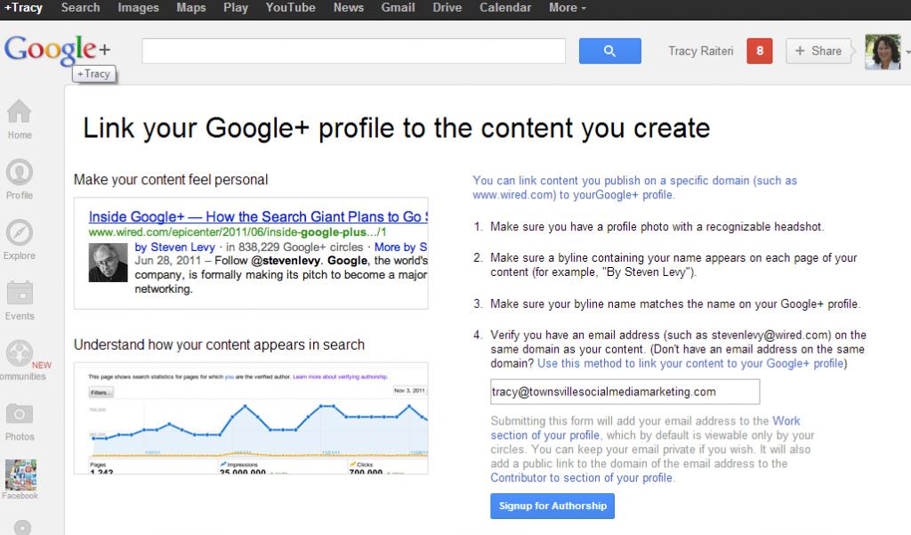 Google Authorship Signup